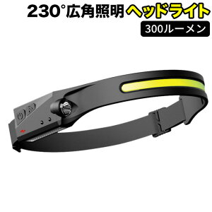 最新版 2個セット300ルーメン ヘッドライト ヘッドランプ USB充電式 230°広角照明 5種点灯モード IPX4防水 センサー機能 COB 高輝度 超軽量 LED ヘッドランプ 実用点灯8時間 サイズ調節可