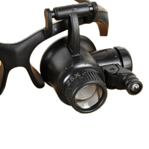 LED付ヘッドルーペ眼鏡式拡大鏡10倍15倍20倍25倍