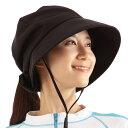 UVキャスケット アクア【紫外線対策 UVカット UVケア 日焼け防止 帽子 黒 ブラック リボン あご紐 メッシュ レディー…
