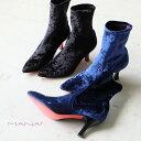 MANA マナ ショートブーツ ストレッチ ブーツ 日本製 ブルー ブラック 赤 ソール 差し色 ベルベット風 モード ビビット (mana587100)インポートシューズ バーゲン