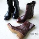 【SALE】Punto Pigro プントピグロ ミケーレ made in italy イタリア ミドル丈 ショート ブーツ ブラウン ブラック ローヒール サイド…