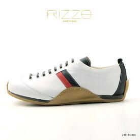RIZZO リゾ メンズ カジュアルシューズ スペイン製 本革 スニーカー 大人カジュアル ホワイト 白(rz2452-172blanco)【w1】インポートシューズ
