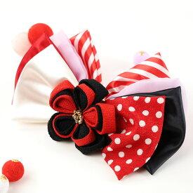 DW-001【和飾り】髪飾り|赤|つまみ細工|和装|着物|振袖|袴|和装|成人式|卒業式|結婚式|ヘアアクセサリー|古典|モダン|和柄|コーム付|Uピン