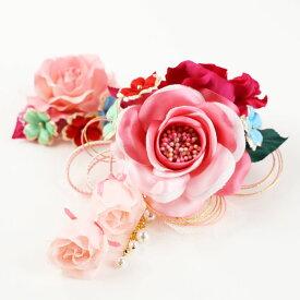 DY-005【洋飾り】コーム付き飾り1点・Uピン飾り1点|ピンク|髪飾り|ヘアアクセサリー|ヘッドドレス|成人式|卒業式|結婚式|パーティー|ウエディング|洋風|振袖|袴|和装|着物