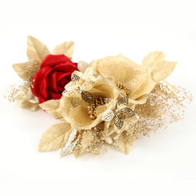 DY-007【洋飾り】コーム付き飾り1点・Uピン飾り1点|ゴールド|髪飾り|ヘアアクセサリー|ヘッドドレス|成人式|卒業式|結婚式|パーティー|ウエディング|洋風|振袖|袴|和装|着物
