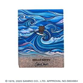 折りたたみミラー Colleen Wilcox(コリーン ウィルコックス) ハローキティ HELLO KITTY 鏡 卓上ミラー スタンドミラー テーブルミラー メイク 折りたたみ 折り畳み 可愛い かわいい サーフィン 波 ハワイアン ファッション 雑貨 アート 絵画