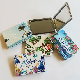 【ハワイアン コンパクトミラー】<フラワー&シー/フラガール/ホヌ/ボタニカル/サーフ>鏡 ハンドミラー 折りたたみ 折り畳み 両面 カードサイズ かわいいハワイアン 雑貨 ファッション