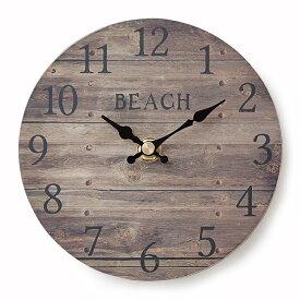 【オールドルック ウォールクロック】<BEACH ブラウン>壁掛け時計・掛け時計オールド風・ヴィンテージ風ハワイアン ビーチ マリン 西海岸 カリフォルニア インテリア 雑貨