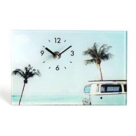 ガラスアートピクチャー デスククロック 置き時計 置時計 (ビーチ バス) 海 ビーチ サーフィン サーフボード 車 クロック ハワイアン雑貨 ハワイ インテリア 西海岸 カリフォルニア