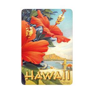 【ハワイアンポストカード】<Hibiscus Beach Day(ハイビスカス ビーチ デイ)>絵はがき グリーティングカード レターハイビスカス 花 ビーチ 海 景色 風景 ヴィンテージ レトロハワイアン雑