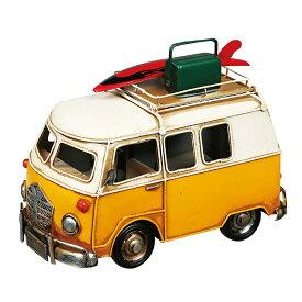 ブリキのおもちゃ クルマ (イエロー オレンジ) 車 ミニチュアカー アンティーク調 レトロ サーフボード サーフィン インテリア雑貨 写真立て Fiat 238 ワンボックスカー ワーゲンバス風 ハワイ アメリカン 西海岸 マリン 雑貨