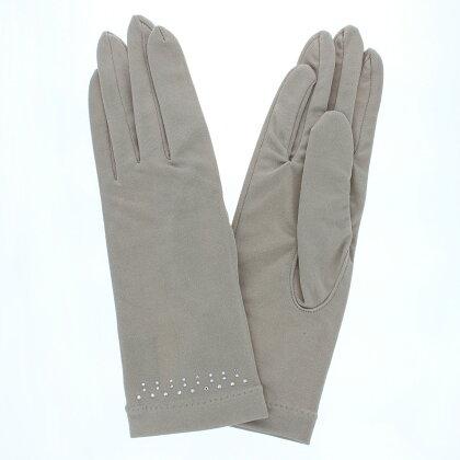 アルタクラッセUVカットUV手袋ショート丈五本指シルク100%スワロフスキーストーン女性用21〜22cm(M)