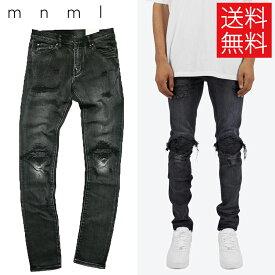 【送料無料】mnml X162 クラッシュ リペア スキニー デニム パンツ ダメージ ブラック STRETCH DENIM BLACK ミニマル