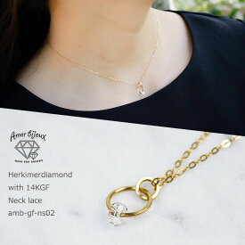 ハーキマー ダイヤモンド クォーツ 天然石 一粒 ネックレス 14KGF ゴールドフィルド シンプル 華奢 コンサバ フェミニン きれいめ プチギフト おしゃれ amb-gf-ns02 Amer Bijoux
