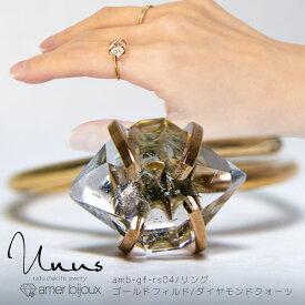 [再入荷]ダイヤモンドクォーツ ラフロック リング 指輪 フリーサイズ ミニ 小さい 上品 さりげない ゴールドフィルド 原石 一点物 天然石 amb-gf-rs04 Amer Bijoux