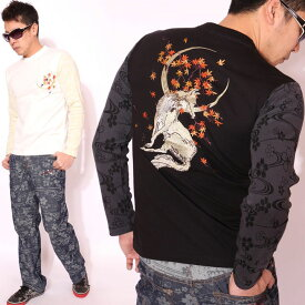 花旅楽団スクリプト 月紅葉狐 総刺繍 和柄 ロンT LT-601 長袖 Tシャツ はなたびがくだん SCRIPT ロングTシャツ メンズ【LONGT】【AW122-30】