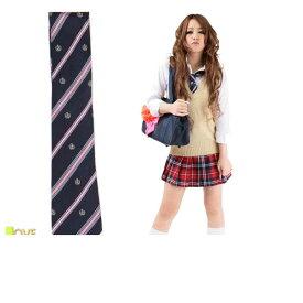 織り生地ネクタイ(APネイビー)2012年新作 派手すぎない紺色ベースに、ピンクのラインがポイントになり、可愛らしさをアピール出来るネクタイ☆コスプレ 衣装 コスチューム    大