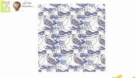 【日本製】【リサ・ラーソン】ハンカチ【レトロバードハンカチ】【ブルー】【ハンカチーフ】【デザイン】【デザイナー】【スウェーデン】【グッズ】【たおる】【かわいい】