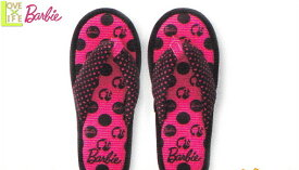 【バービー】【Barbie】ルームサンダル【ブラックドットパターン】【レディ】【バービー人形】【アメリカ】【グッズ】【お部屋】【スリッパ】【ルームシューズ】【履物】【かわいい】
