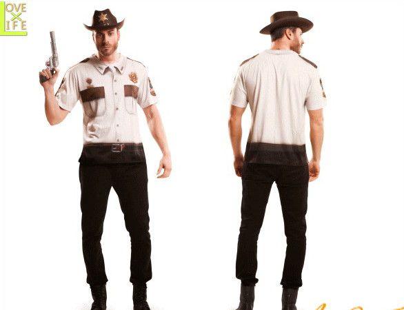 【メンズ】【Tシャツ】警察【シェリフ】【西部劇】【コスT】【シャツ】【装飾】【グッズ】【衣装】【コスプレ】【コスチューム】【ハロウィン】【パーティ】【イベント】【かわいい】新作ハロウィングッズがぞくぞく登場 小物でハロウィンを盛り上げよう