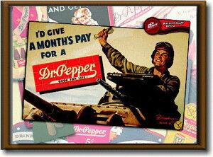ドクターペッパー【Dr Pepper】【Mサイズ】大き目のイラスト ピクチャーフレーム!インテリアにどうぞ♪アメリカの香りがする商品を揃えました♪企業ロゴやキャラクター!どれもCOOLです♪