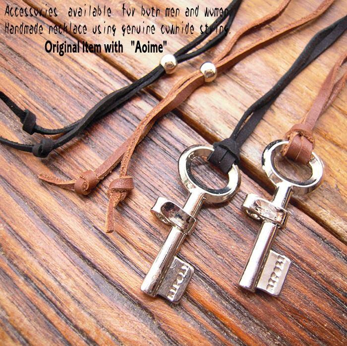 ハード キー 鍵 カギ レザーネックレス ペンダント チョーカー 本牛革 メンズ レディース ジュエリー ブラック ブラウン レザー n-l007