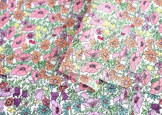 【花柄生地】リバティ風綿80ローン生地ラティフラワーワッシャー加工【生地花柄】【ローン生地花柄】■鮮やかなお花が可愛い印象☆