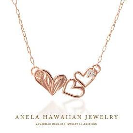 ハワイアンジュエリー ネックレス レディース ハワジュ アクセサリー K10ピンクゴールド ダイヤモンド 送料無料 あす楽 プレゼント 人気 アネラ ハートネックレス ホワイトデー 誕生日 アクアヴェール