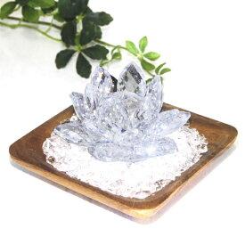 浄化 3点セット クリスタル ロータス ウッドトレイ 水晶チップ パワーストーン 開運 風水「送料無料」