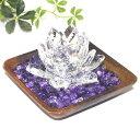 浄化 3点セット クリスタル ロータス ウッドトレイ アメジストチップ 紫水晶 パワーストーン 開運 風水「送…