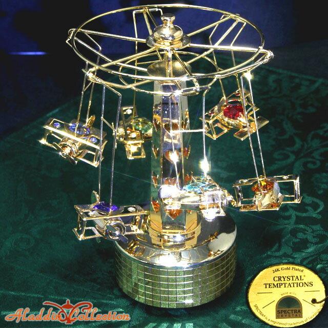 スワロフスキー 置物 オーナメント オルゴール飛行機 合金製 24K ゴールドコート クリスマス クリスタルテンプテーション CRYSTAL TEMPTATIONS SWAROVSKI ELEMENTS