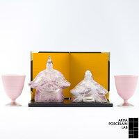 JAPANCHERRY雛人形ボンボリセット(馬上杯×2・金屏風・台板・木箱入)1