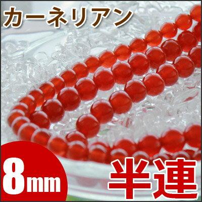 【半連】 レッドカーネリアン 【紅玉髄】 8mm玉 24玉 天然石 パワーストーン ビーズ 【 卸 問屋 】