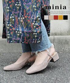 バックバンドスクエアパンプス 送料無料 【 minia ミニア 18AW新作 】パンプス バックストラップ ローヒール チャンキーヒール スクエアトゥ レディース シューズ 靴