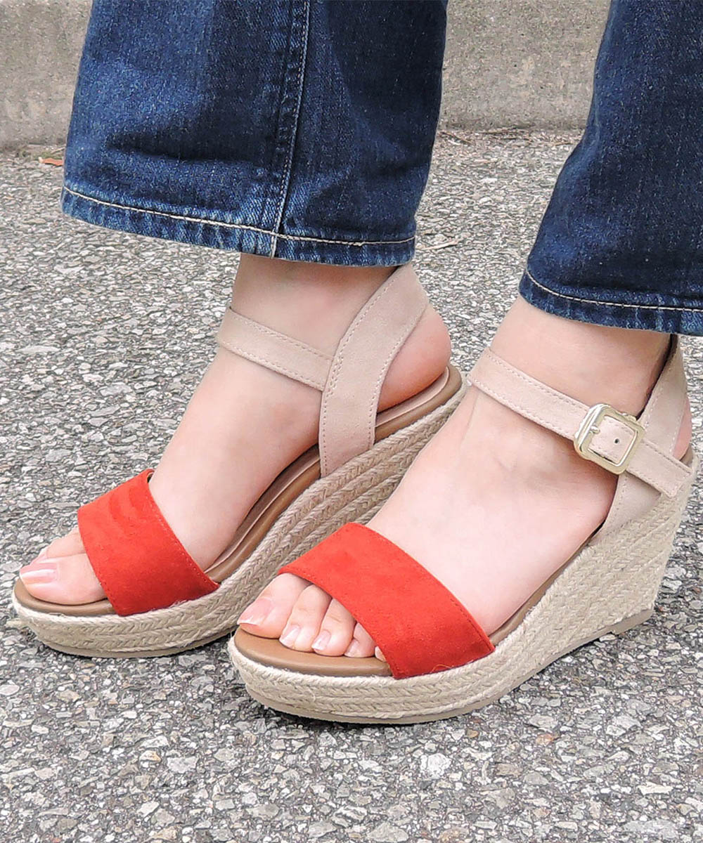 ジュートウェッジストラップサンダル 送料無料【 minia ミニア 18SS新作 】エッジソール 厚底 サンダル ストラップサンダル 歩きやすい レディース シューズ 靴