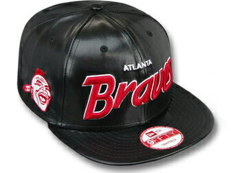 NEW ERA ATLANTA BRAVES【COOP REDUX SNAPBACK/BLK-RED】ニューエラ アトランタ ブレーブス 9FIFTY スナップバック [帽子 ヘッドギア capキャップ大きい サイズ メンズ レディース ヘッドウェアー PUレザーSCRIPT LEATHER]