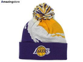 MITCHELL&NESS LOS ANGELES LAKERS【PAINTBRUSH BEANIE/GOLD-WHT-PUR】 ミッチェル&ネス ロサンゼルス レイカーズ ニット帽 ビーニー [NBABEANIE]