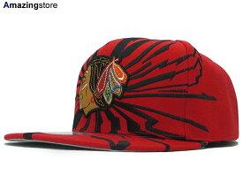 MITCHELL&NESS ミッチェル&ネス CHICAGO BLACK HAWKS シカゴ ブラックホークス 【EARTHQUAKE SNAPBACK/RED】 [ 帽子 ヘッドギア new era cap ニューエラキャップ new eraキャップ neweraキャップ 大きい サイズ メンズ レディース WORK CAP ワークキャップ LA CAP]
