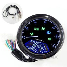 5399 バイク MAX199km 12000rpm 電気式 複合 汎用 LED デジタルメーター 黒 スピード タコ 距離 ウインカー ギアポジション ライト 燃料計 日本語簡易配線図付き