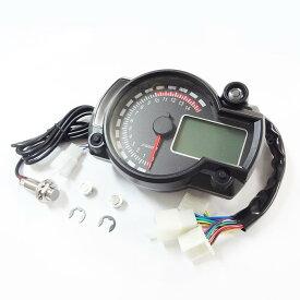 デジタルメーター スピード タコ 15000rpm 赤針 黒パネル 多機能 電気式 液晶 バイク バギー トライク ATV など 汎用