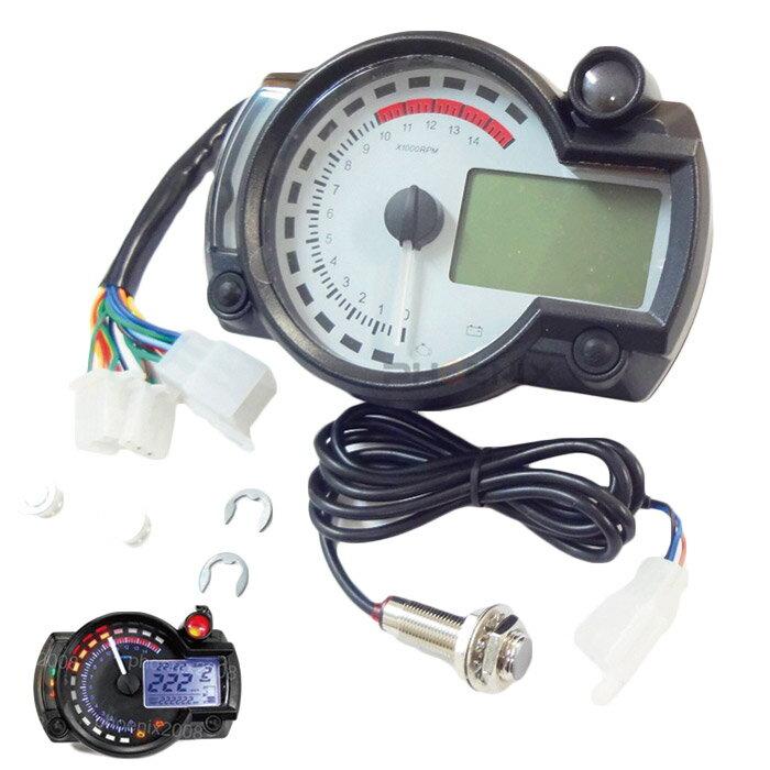 5422 バイク バギー トライク ATV などの汎用 多機能 電気式 液晶 デジタルメーター スピード タコ 15000rpm 白針 白パネル