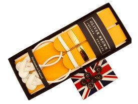 サスペンダー メンズ 紳士 ブレイス ボタン止め 英国製 手縫いアルバートサーストン ボックス BOX handstitched ホワイトエンド Yellow イエロー B222