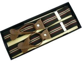 サスペンダー Y型 メンズ 紳士 英国直送 Braceブレイス ボタン止め エラスティック 伸縮素材 TNE Black/Wine/Beige Stripe B540