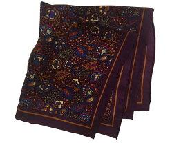 ポケットチーフ シルクチーフ メンズ 紳士 Silk 英国 マイケルソン of ロンドン 大判チーフ Purple Flower Size33x33cm C179