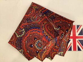 ポケットチーフ シルクチーフ メンズ 紳士 Silk 英国 マイケルソン of ロンドン 大判チーフ Size33x33cm Orange Paisley C274