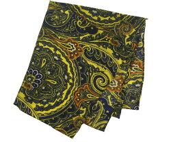 ポケットチーフ シルクチーフ メンズ 紳士 Silk 英国 マイケルソン of ロンドン 大判チーフ Size33x33cm Yellow Paisley C275