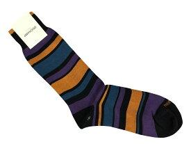 靴下 紳士 メンズソックス ハーフホーズ 英国 イタリー製 Duchamp 稀少ドゥシャン 綿 9 Shaded Stripe/Blue/Navy/Darkpink サイズM K057