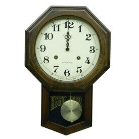 振り子 時計 壁掛け 電波 木製 日本製 八角 ブラウン おしゃれ ギフト プレゼント レトロ アンティーク インテリア リビング