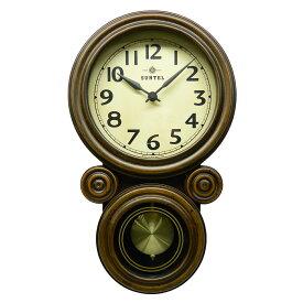 ミニ だるま 電波 振り子時計 壁掛け 日本製 木製 ボンボン おしゃれ ギフト レトロ インテリア さんてる