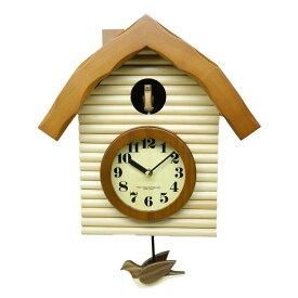 鳩時計 おしゃれ 北欧 さんてる 木製 ブラウン 掛け時計 壁掛け時計 柱時計 日本製 ギフト プレゼント インテリア レトロ アンティーク ロッジハウス